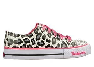 Skechers Twinkle Toes Shuffles Wild Onez Leopard Print 10272L/WBHP Youths 10.5