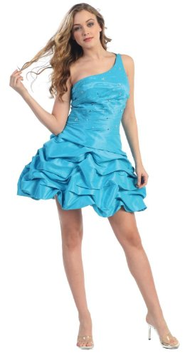 One Shoulder Pick-up Cocktail Dress Prom #708 (6, Turquoise)