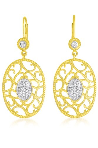 Cable Sterling Silver Filigree Two Tone OVAL EURO WIRE EARRINGS