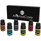 EA Aromacare Aromatherapy Essential Oils Gift Set, Therapeutic Grade, Guaranteed 100% Pure, (Lavender, Peppermint, Lemongrass, Tea Tree, Eucalyptus, Bergamot and E-book) Massage Essential Oils, Use in Essential Oil Diffuser, Perfect Essential Oils Kit gift for her (Black)