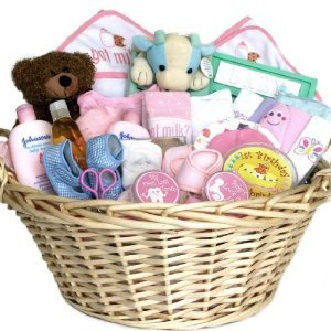 baby gift basket pink for girls shower or christmas holiday gift