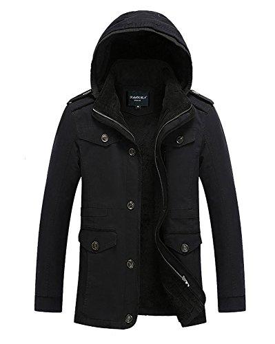 LaoZan Uomo Casuale Trench Coat con cappuccio Invernale Parka Giacca a manica lunga XL Nero