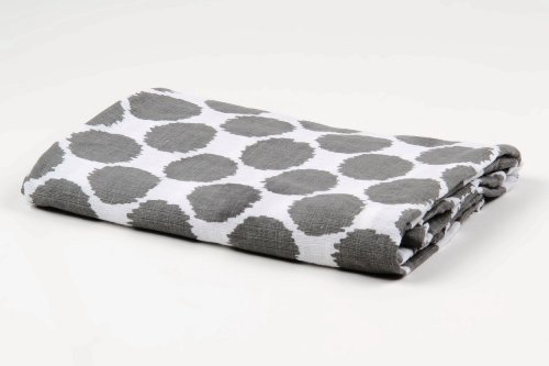 Bacati Ikat Grey Dots One Swaddling Muslin Blanket Single