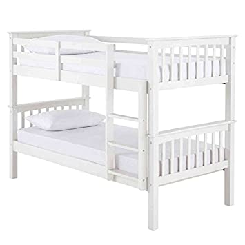 New Devon 3ft Single White Solid Wooden Pine Bunk Bed Adults Childrens