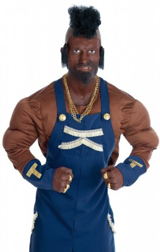 Mr. T Costume. What you lookin' at fool? Who can forget the B.A. Baracus character from the A Team played by Mr. T?  Ideal for 80s and TV themed events.