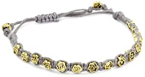 Shashi Yellow Gold-Plated with Grey Cord Rose Bracelet