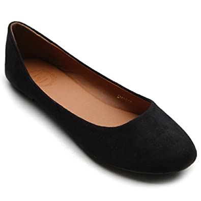Ollio Womens Shoe Ballet Light Faux Suede Low Heels Flat(5.5 B(M) US, Black)