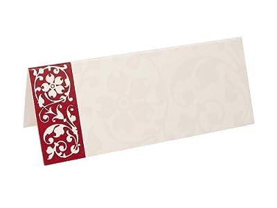 Tischkarten creme bordeaux Borte, 10 x 4 cm, 25 Stück