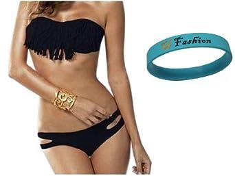 2013 Hot Sexy New Tassel Padded Bandeau Fringe Bikini 2pcs Set Swimsuit Swimwear (Black, L (US6-8    C-D CUP))
