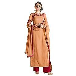 Bhelpuri Women Peach Georgette Semi-stitched Salwar Kameez