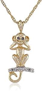 "10k Gold Plated Sterling Silver ""Speak No Evil"" Monkey Pendant Necklace (1/10 cttw)"
