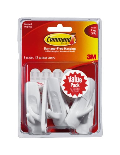 Command Medium Hooks, White, 6-Hook photo
