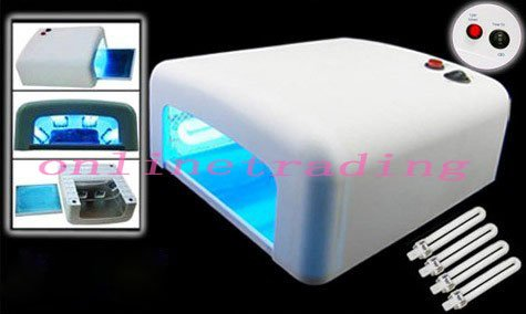 Professional 36W Nail Dryer/Lamp/Light Gel Uv Lamp Pro Finish Quick Dry With 4 Tubes--White