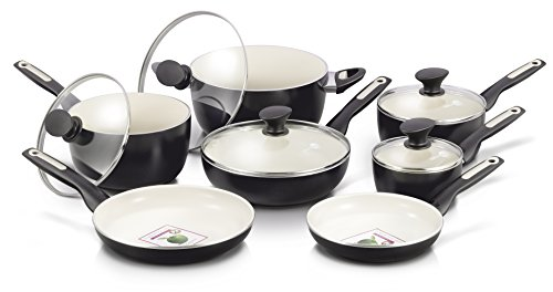 GreenPan Rio 12 Piece Ceramic Non-Stick Cookware Set, Black