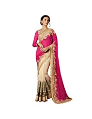 Cream And Rani Pink Georgette+Net Designer Saree