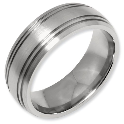 Titanium Grooved 8mm Satin Band Ring Size 12.5 Real Goldia Designer Perfect Jewelry Gift for Christmas