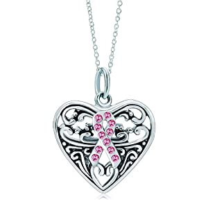 Pugster Silver Rose Pink Crystal Ribbon Heart Love Link Charm Charms Bracelet & Pendant Necklace