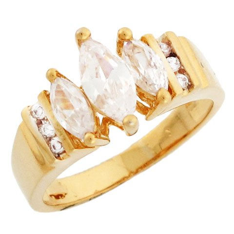 10k Gold Three Stone Marquise CZ Promise Ring with Round Cut accents