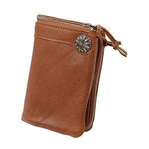 (ラファエロ) Raffaelo 一流の革職人が作る コンチョ付き二つ折財布 ウォレット 本牛革 (茶)