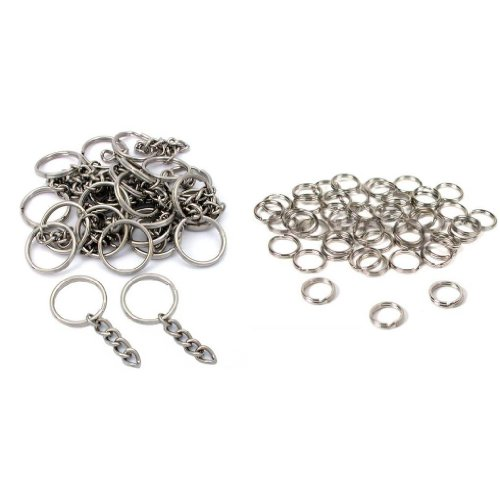 Nickel Plated Key Chain Rings W/ Chain & Split Rings Jewelry Connectors 50 Pcs (Key Chain Supplies compare prices)