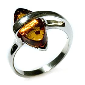 Sterling Silver Honey Amber Marquise-Shaped Ring