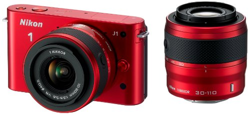 Nikon 1 J1 Compact System Camera with 10-30mm and 30-110mm Double Lens Kit - Red (10.1MP) 3 inch LCD