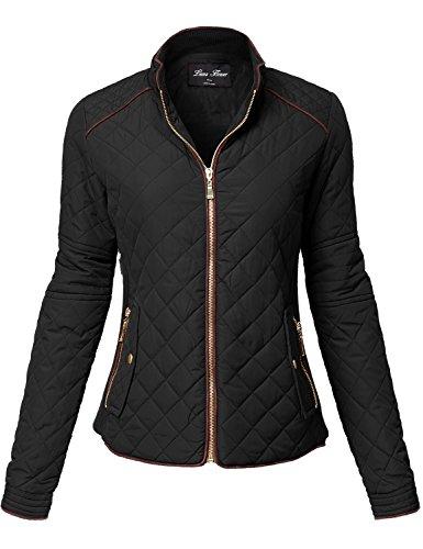 Luna Flower Winter Quilted Padding Vest Long Sleeve Warm Jackets 123-Black Large