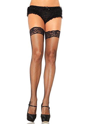 Leg Avenue Women's Plus Size Lycra Stay-Up Fishnet With Lace Top, Black, One Size (Plus Size Fishnet Stocking With Lace Top)