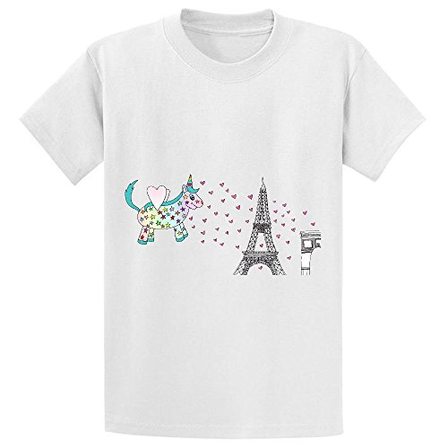 Snowl Rainbow The Unicorn In Paris Teen Crew Neck Personalized T Shirt White (Canada Longsleeved Shirt compare prices)