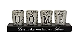 Flameless Candle White Glass Votives HOME LED Tea Lights & Wood Tray