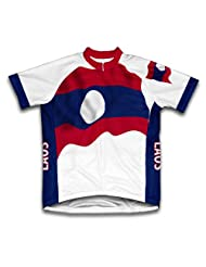 Laos Flag Short Sleeve Cycling Jersey for Women
