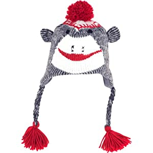 Sock Monkey Knit Hat with Poly-Fleece Lining, Adult Size, Gray