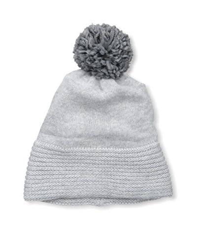 Portolano Women's Knit Hat with Pom Pom, Silver/Pietra
