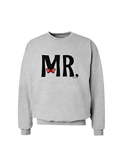 Tooloud Matching Mr And Mrs Design - Mr Bow Tie Sweatshirt - Ash Gray - Large