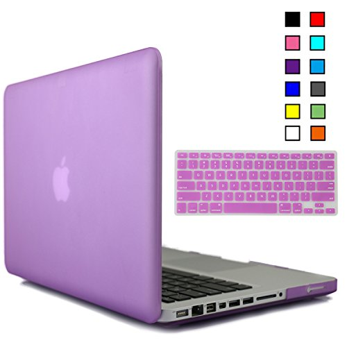 iBenzer® - 2 in 1 Multi colors Soft-Touch Plastic Hard Case Cover & Keyboard Cover for Macbook Pro 13'', Purple MMP13PU+1
