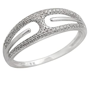 Beautiful Natural Round Brilliant Cut Diamond Light Weight Ring, 925 Sterling Silver Size 8.5