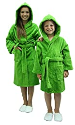TowelBathrobe Kids Terry Hooded Unisex Bathrobe (Small) Apple Green