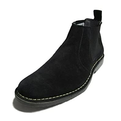 New ROAMERS Leather Suede Twin Gusset Chelsea Desert Boots In Black Size 7 UK