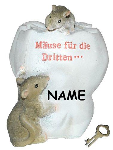"""Spardose Maus """" Mäuse für die Dritten ... """" Zähne - mit Schlüssel + Namen - stabile Sparbüchse aus Kunstharz - Zahn Arzt Geld Mäuse Doktor Arzt Zahnarzt"""