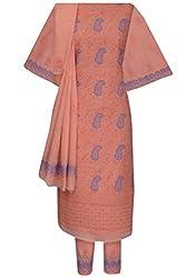 Ada Chikan Handmade Peach Cotton Ethnic Designer Salwar Suit Dress Material A103530