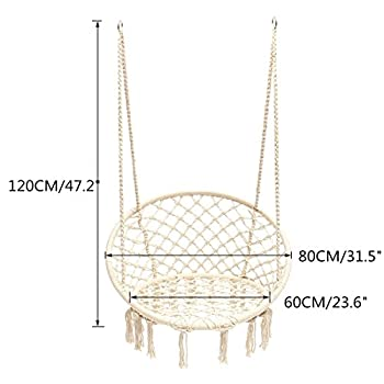 E EVERKING Hammock Chair Macrame Swing, Hanging Cotton Rope Macrame Hammock Swing Chair for Indoor, Outdoor Home, Patio, Porch, Deck, Yard, Garden, Max Weight: 260 Pounds (White)