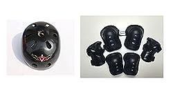 Fantasycart Kids Skateboard Longboard Helmet Knee & Elbow Pads Wrist Guard Combo Black Set 2-8 years old
