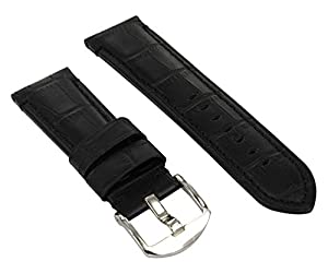 Fanmis 24 mm Black Leather Strap for 44 mm Parnis Marina Militare Watch Case Add Buckle 026