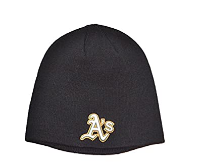 Oakland Athletics A's Black Skull Cap - MLB Cuffless Beanie Knit Toque Hat
