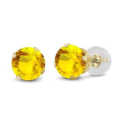 14K-Yellow-Gold-Natural-Yellow-Sapphire-Womens-Stud-Earrings-072-cttw-4MM-Round