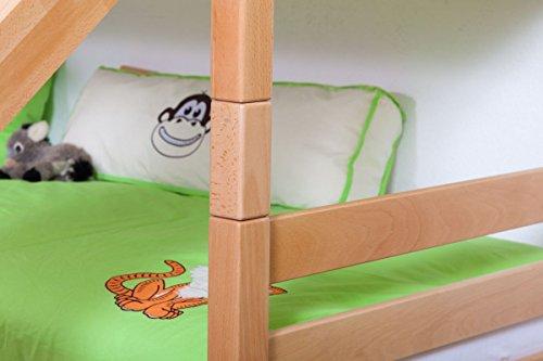 Lit pour enfant / Lit superposé Moritz en hêtre massif naturel, avec diapositive, sommier à lattes déroulable inclus - 90 x 200 cm