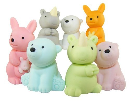 7-piece Iwako wild animal erasers - kangaroo, rhino and polar bear (Color Varies) - 1