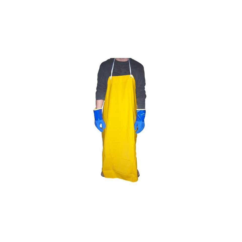 Global Glove A355Y PVC on Polyester Apron, Size 1, Yellow (Case of 36)