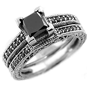 Gorgeous 1.96ct Princess-Cut Black Diamond Engagement Ring Set 14k White Gold