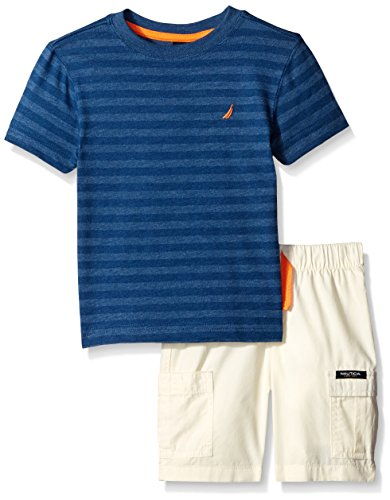 Nautica Little Boys' Two Piece Stripe Tee Shirt Set with Solid Bottom,Dark Blue,Medium(5/6)